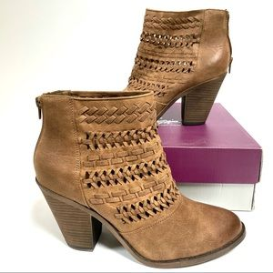 NEW Fergie 10 Willow Ankle Boots Sand Brown Bootie Heeled Woven Retail $80